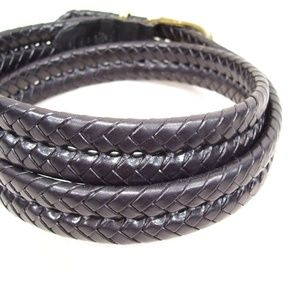 Men's Accessories - Coach Braided Black Leather Belt Brass Buckle